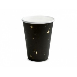 Bicchiere di carta nero con motivi dorati