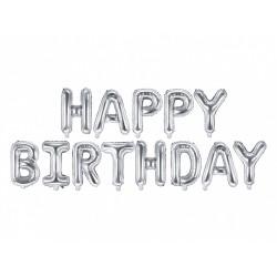 Palloncino metallizzato Happy Birthday argento