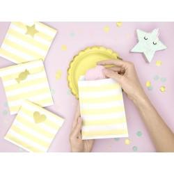 Bustine di carta a righe Giallo - 6 pezzi