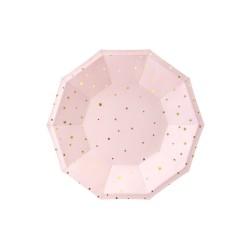 Piatto rosa con stelle oro - 6 pezzi