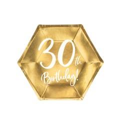 Piatto di carta oro 30° compleanno - 6 pezzi