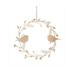 Corona Agrifoglio uccellini in oro piccola