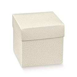 Scatola portaconfetti Pelle Bianco 5x5x5