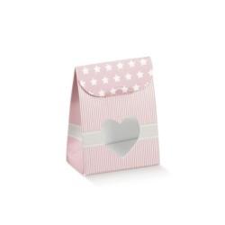 Portaconfetti  Star rosa con finestra cuore