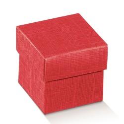 Scatola portaconfetti Cubo seta rosso