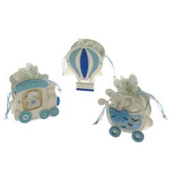 Scatola in legno con sacchetto portaconfetti azzurro trenino mongolfiera carrozza