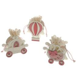 Scatola in legno con sacchetto portaconfetti rosa carrozza mongolfiera culla